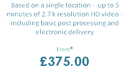 Based on a single location -  up to 5 minutes of 2.7 k resolution HD video - including basic post processing and electronic delivery